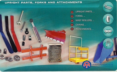 Upright parts, forks and attachment